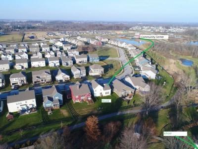 birdeye view- swiming pool gym community center in walking disctance
